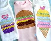 Applique Designs - Fun Food - Cupcake, Strawberry, Cheeseburger and Ice Cream Cone - PDF ePattern