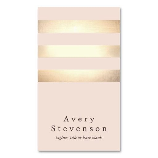 Gold Colored Striped Modern Light Pink Business Card Template. Chic & professional - these would be great for a wedding planner or makeup artist.