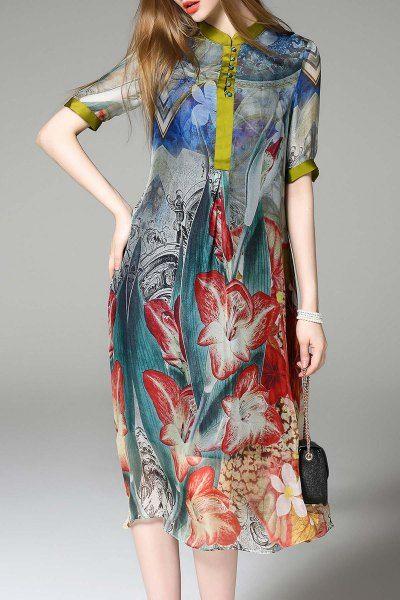 Midi Silk Floral Dress - COLORMIX XL