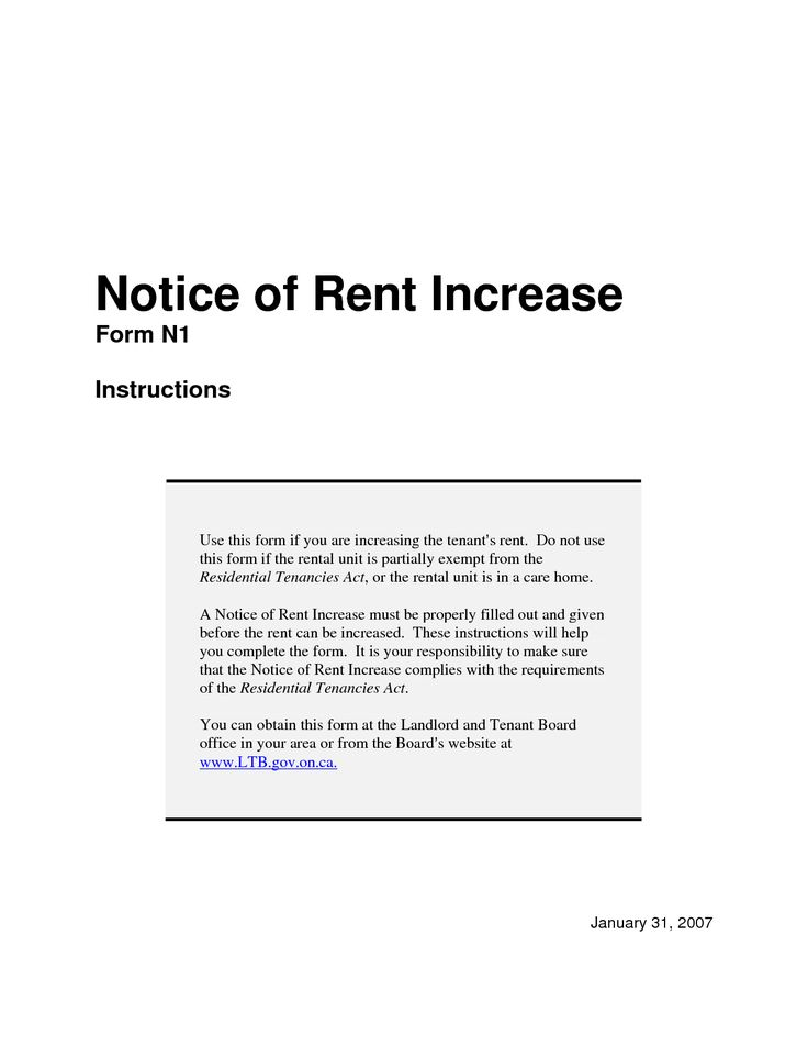 Notice Of Rent Increase Letter Template  Letter Template