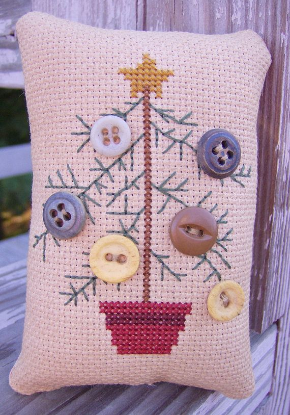Cross Stitch Primitive Feather Tree with Button Ornaments