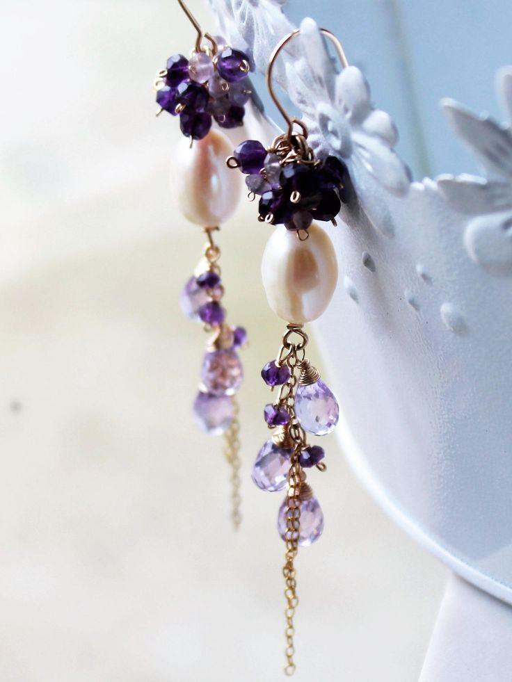 Amethyst Earrings, Pearl Earrings, Goldfill wire wrap, purple gemstone, white pearls, cluster earrings, February birthstone, holiday gift by AliraTreasures on Etsy
