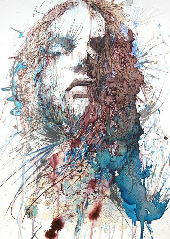 Beautiful Decay by Carne Griffiths using tea, brandy and whisky