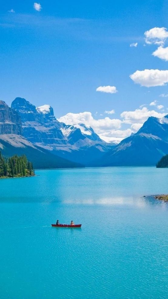 Ah-h-h, Canada!  It makes me feel so much cooler looking at this!!  :)   Maligne Lake, Alberta, Canada