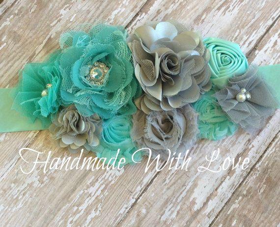 Deep Aqua Blue and Grey Maternity SASH--Flower Sash--PHOTOGRAPHY Prop--Maternity Belt--Pregnancy Sash on Etsy, $28.99