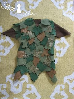 Wispy House: DIY Peter Pan Costume, use felt leaves as a layer