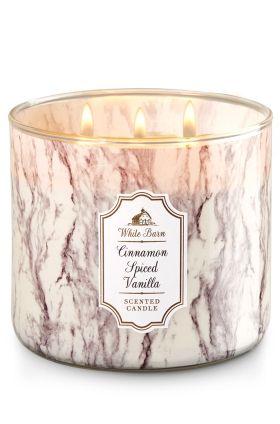 Cinnamon Spiced Vanilla 3 Wick Candle  Bath & Body Works  - Fresh Ground Cinnamon, Sugar Crystals, Tahitian Vanilla Bean