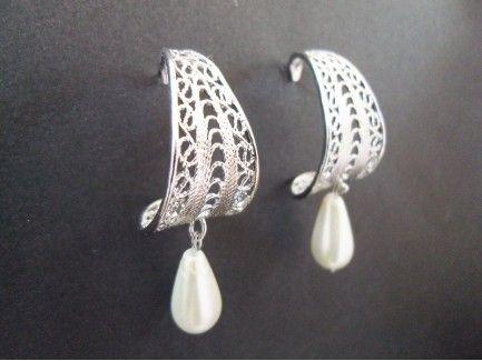 Hoop Pearl Drop Earrings