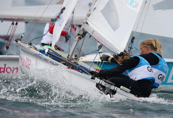 Day twelve: Hannah Mills and Saskia Clark of Team GB compete in the 470 Women's Class Sailing.