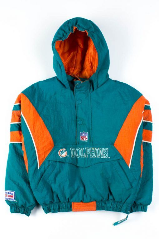 huge selection of 81995 5e7a8 Miami Dolphins Pullover Starter Jacket in 2019 | Vintage ...
