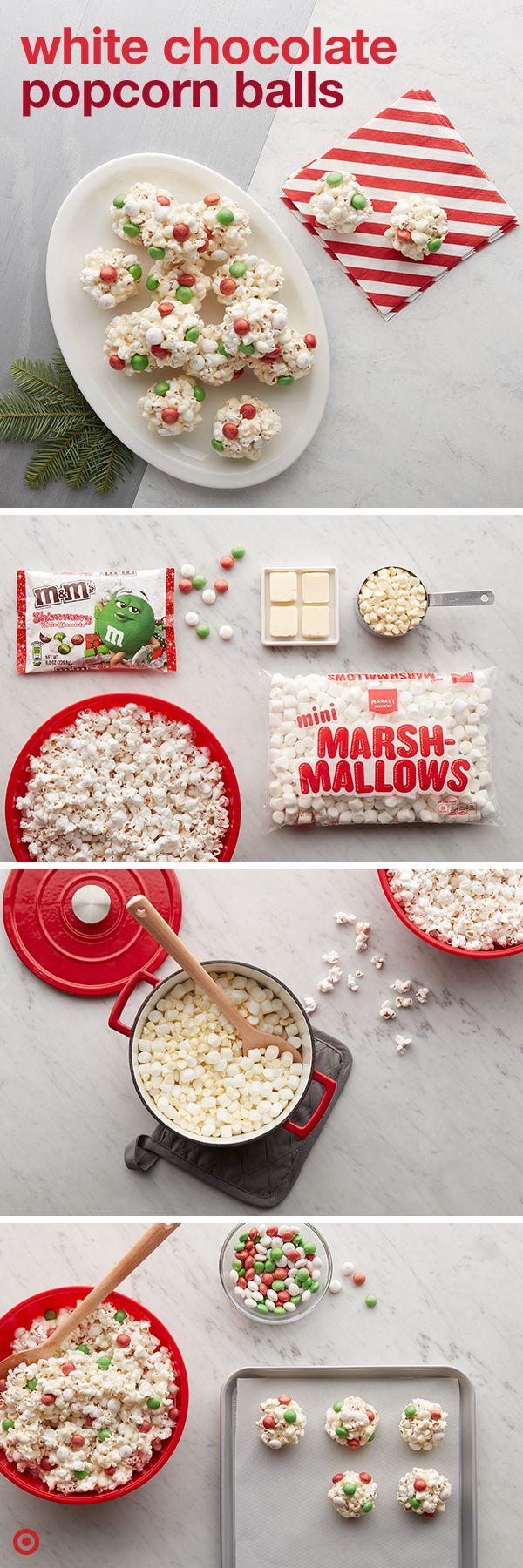 Get your holiday party poppin' with these simple, salty sweets. Melt butter, marshmallows and baking chips together until smooth. Pour over popcorn in a large (heatproof) bowl. Stir until it's coated, then add M&M'S candies. Form the mix into 2-inch balls and cool them on a pan until you're ready to party! These pop-ular M&M's Shimmery White Chocolate are available exclusively at Target.
