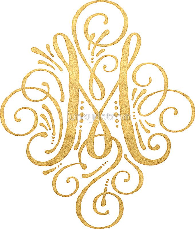 Golden Monogram Letter M by junkydotcom