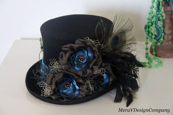 Black Top Hat, Teal Peacock Steampunk Mad Hatter, Alice In Wonderland, Victorian Riding Hat, Purple Crystal Beads, Wool Felt READY TO SHIP on Etsy, $95.00