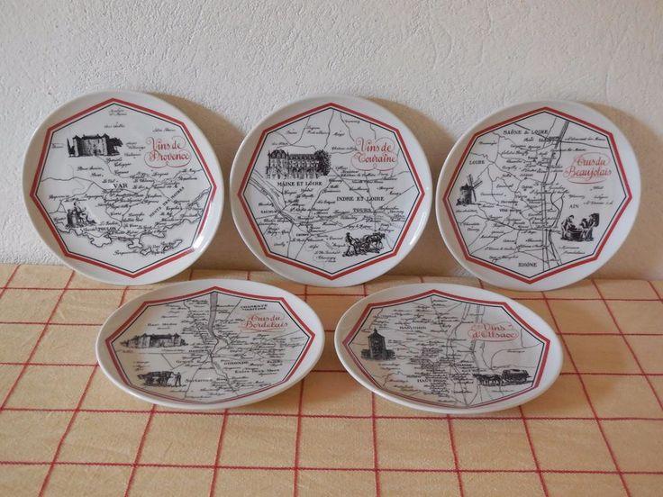 PORCELAINE D'AUTEUIL  PARIS FRANCE  - SET of 5 PLATES french vineyard pattern #DAUTEUILPORCELAIN