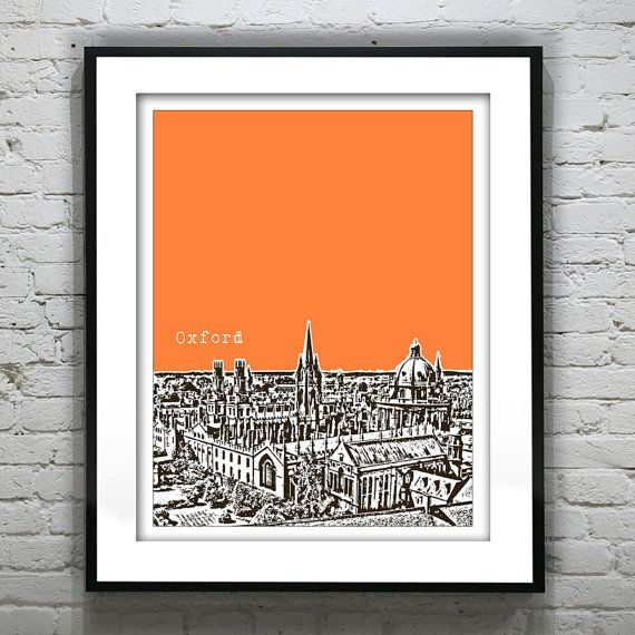 Oxford England Poster  Art Print UK United Kingdom Oxford University 8 X 10