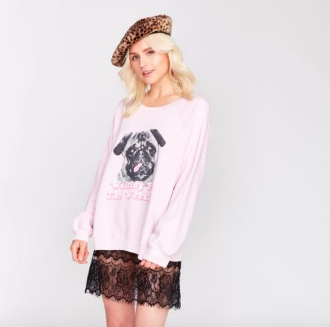WILDFOX WOOF WEEKEND PINK SWEATER