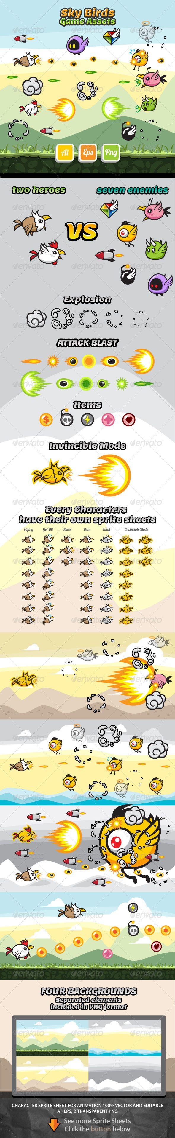 Sky Birds Game Assets - Download: http://graphicriver.net/item/sky-birds-game-assets/7127737?ref=sinzo #Sprites #Game #Assets