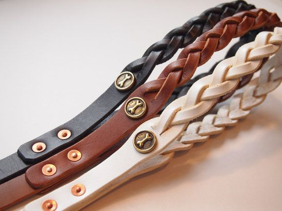 Leather dog leash braided all brass metal by SunGoddessCollars, $85.00