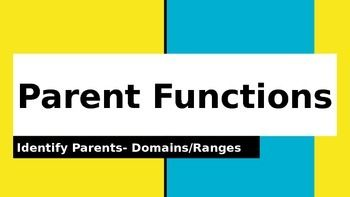 This is a powerpoint presentation which can be used as a warm up drill or quiz over nine parent functions along with the domain and range for each function.  Domain and Ranges are shown in inequality notation, set notation and interval notation.  It can be edited to fit your classroom.