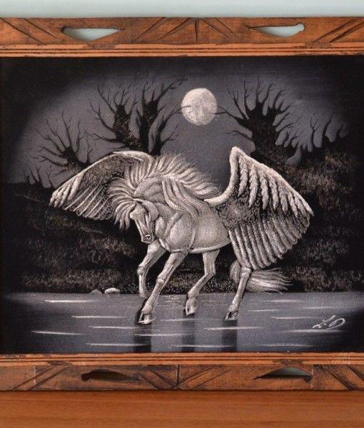 Vintage oil painting black velvet mystical horse with wings