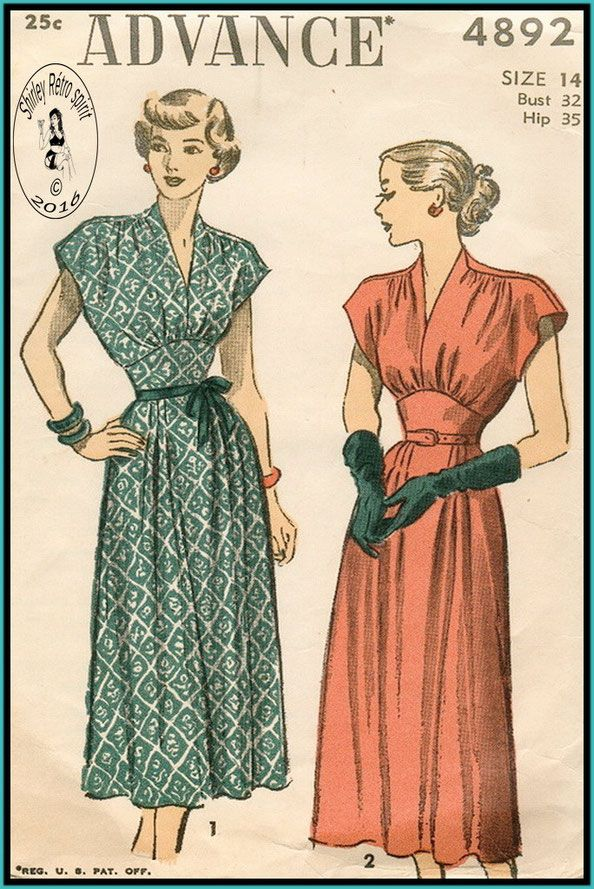Vintage Sewing Patterns Advance 1940s Dresses Gathers Midriff Tucks ...