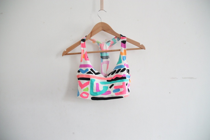 80s neon crop top via whatezekielsaw on Etsy