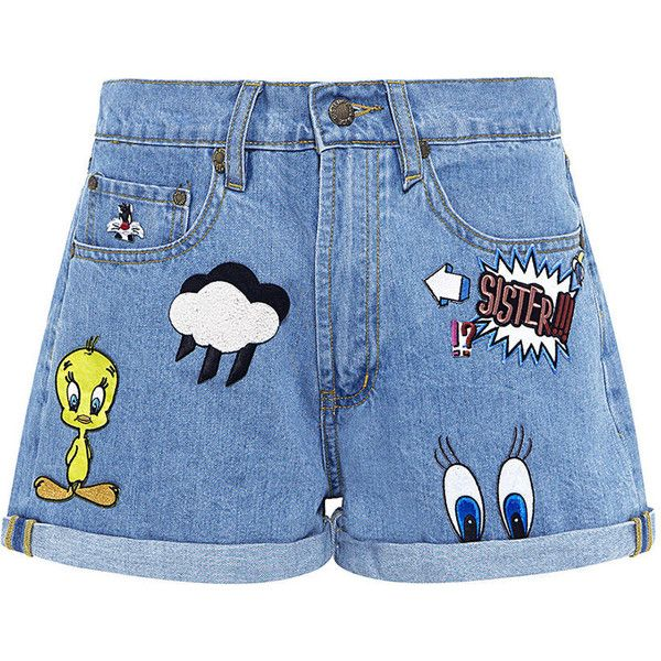 Paul & Joe Sister - Patch Embroidered Looney Denim Shorts (235 CAD) ❤ liked on Polyvore featuring shorts, bottoms, short, pants, patch shorts, embroidered denim shorts, comic book, jean shorts and short jean shorts