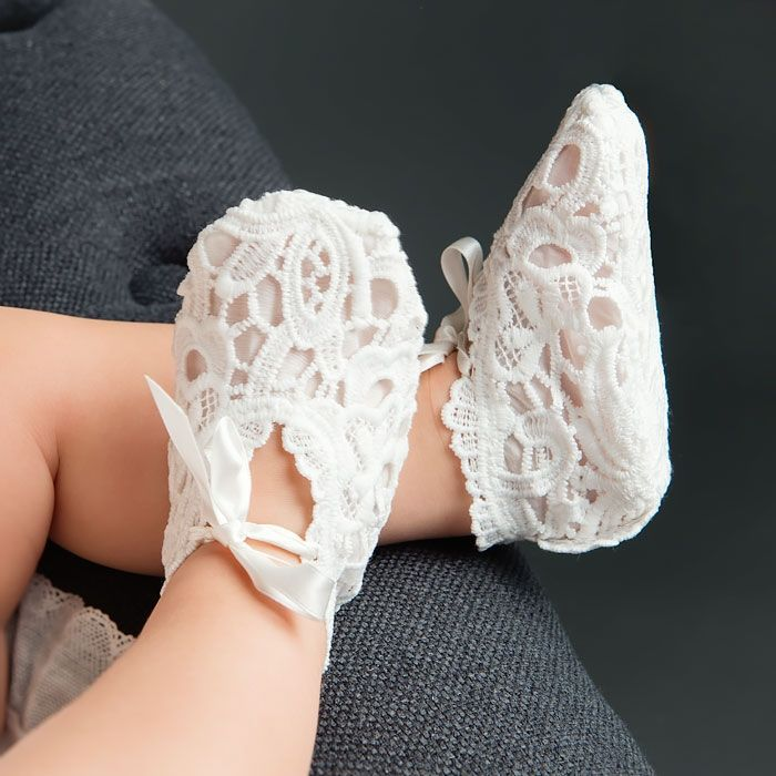 Lola Christening Booties (Girl) |  Baptism Clothes & Dresses - Fancy Gowns & Dresses