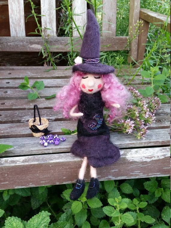 Halloween Witch Doll Wool Felted Witch Doll by EvelinesGarden