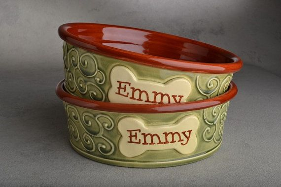 """Medium Dog Bowl Set 8"""" Personalized Made To Order by Symmetrical Pottery"""