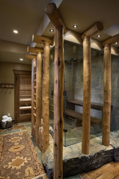 sauna.  interiorstyledesign:    Glass encased shower is accented by wood in this Montana log home  (via Montana mix - eclectic - bathroom - other metros - by Design Associates - Lynette Zambon, Carol Merica)