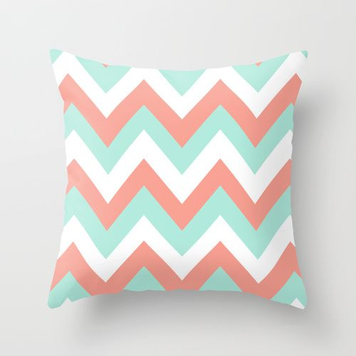 coral throw pillows | MINT & CORAL CHEVRON Throw Pillow