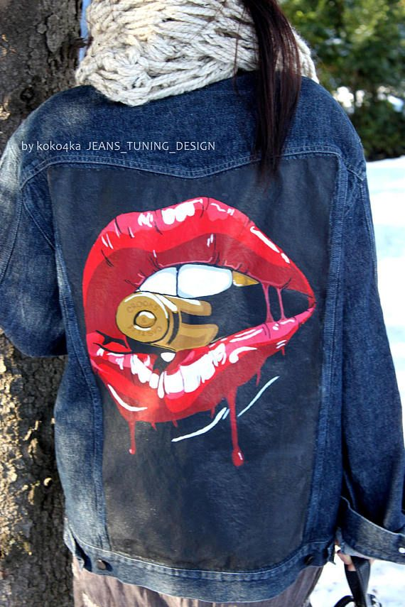 AVAILABLE !!! Overweight jacket, Unisex (L-XL) In the photo, the jacket is dressed in size M  by koko4ka HANDMADE Hand-painted torn jeans  If you wish, you can draw on the jacket all you want!  All garments are pre washed in Woolite and are hand painted with non toxic, flexible