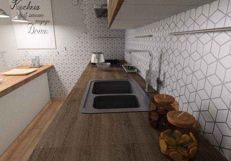 Designerska mozaika heksagonalna zbudowana z białych rombów. Wersja MAT. Cena 12,90/szt. 28 sztuk = 1m2