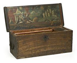 Caja de marinero en chopo policromado con representación interior de Judith y Holofernes, del siglo XVIII