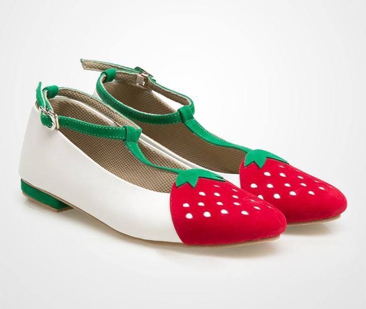 Strawberry Flat Shoes  by Ba-na-na. A cute flat shoes with strawberry shape in…