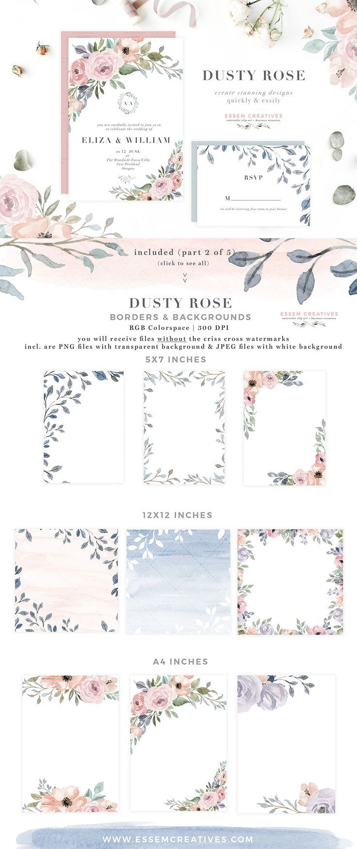 Dusty Rose Watercolor Floral Card Borders Backgrounds Png Jpeg Floral Wedding Invitations Vintage Floral Wedding Invitations Blue Wedding Invitations