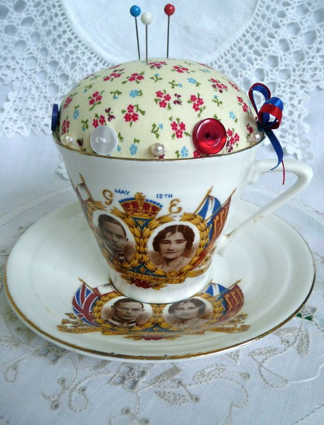 Vintage Jubilee Inspired Cup and Saucer Pincushion