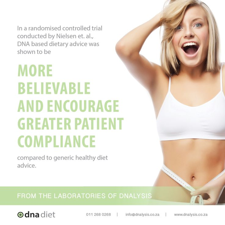 In a randomised controlled trial conducted by Nielsen et. al., DNA based dietary advice was  shown to be more believable and encourage greater patient compliance compared to generic healthy diet advice.  #dnalysis #dnadiet