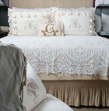 Beautiful Lace Coverlet~❥You may use an old lace table cloth!