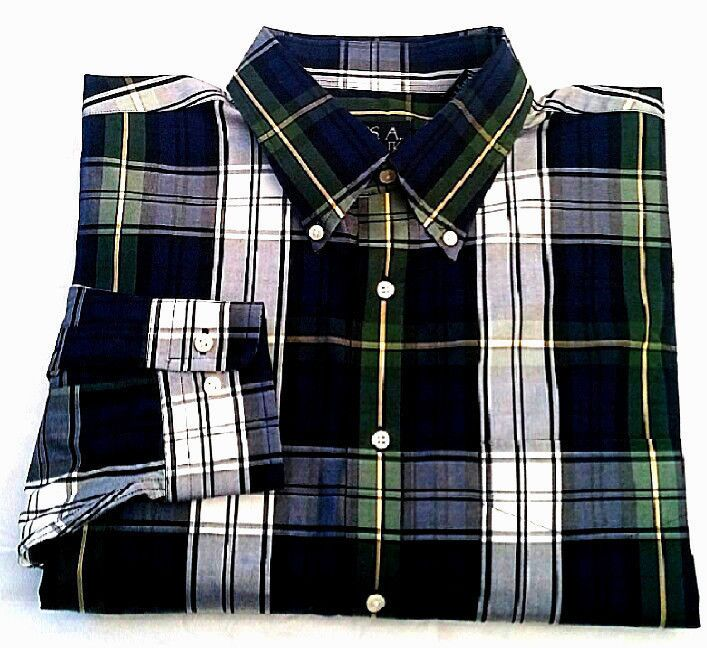 Jos.A.Bank- Blue/Green/White Plaid, Cotton BD Fashion Shirt- size L