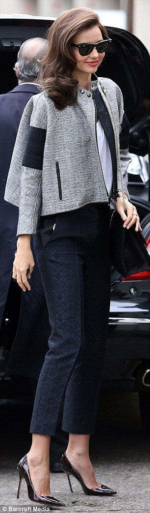 Back to work: Miranda shows off a different - and more sophisticated look - as she arrives for a photo shoot in Sydney