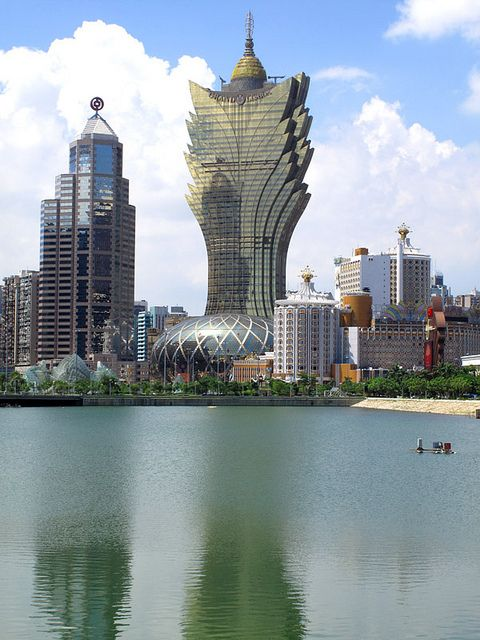 Macau skyline, from the shore of Nam Van Lake by thewamphyri, via Flickr
