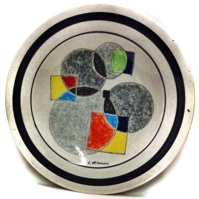 LUIGI VERONESI (1908-1998) COMPOSIZIONE DIPINTO SU PIATTO IN CERAMICA 52cm ☲☲☲☲☲☲☲☲☲☲☲☲☲☲☲☲☲☲☲☲ COMPOSITION OF A PAINTING ON CERAMIC PLATE