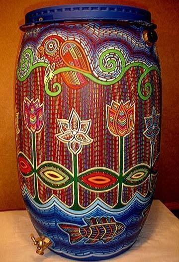 Fancy schmancy painted rain barrel