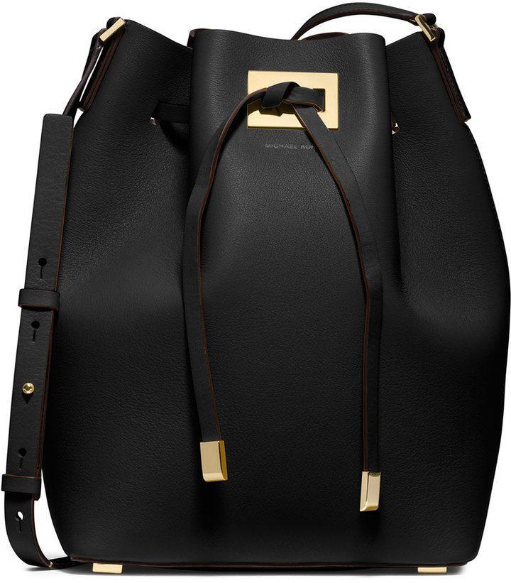 Michael Kors Collection Miranda Large Drawstring Messenger Bag, Black                                                                                                                                                                                 More