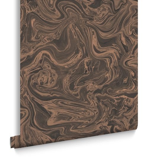 Marbled Charcoal and Rose Gold Wallpaper