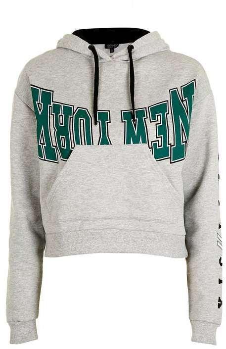 Petite new york motif hoodie