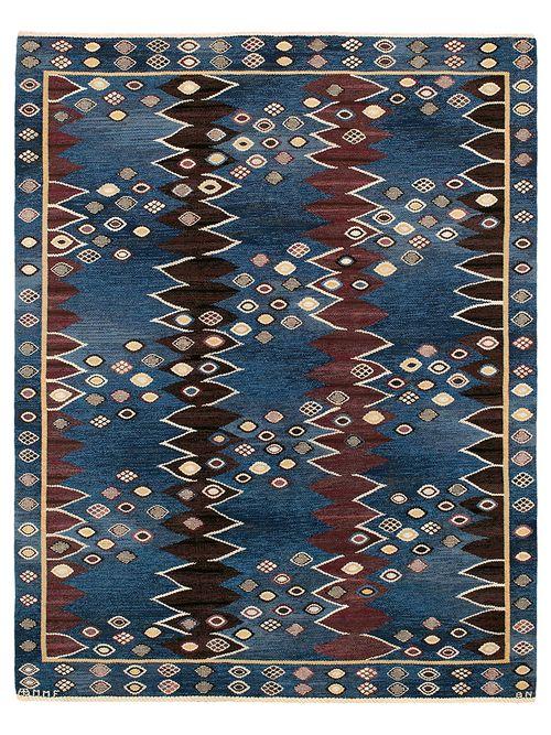 SNÄCKORNA Designed by Barbro Nilsson in 1942 #MMF #MärtaMååsFjetterström #MartaMaas #BarbroNilsson #Handwoven #Handmade #Flatweave #Rug #Rugs #SwedishCarpets #SwedishDesign