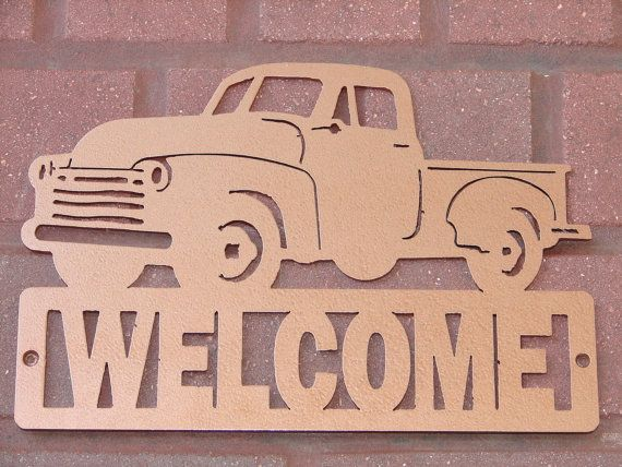 Vintage Pickup Truck Welcome Sign Classic Dodge Chevrolet